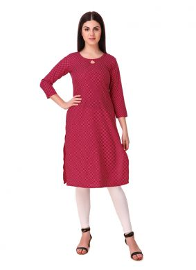 Red Plain Party Casual Kurti