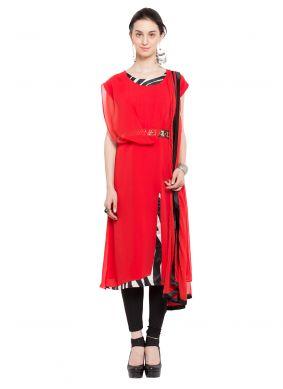 Red Plain Readymade Churidar Salwar Kameez