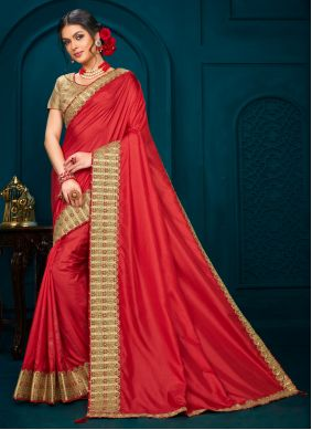 Red Poly Silk Designer Saree
