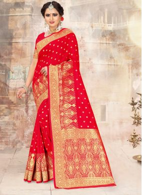 Red Poly Silk Embroidered Traditional Saree
