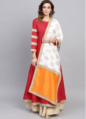 Red Poly Silk Festival Party Wear Kurti