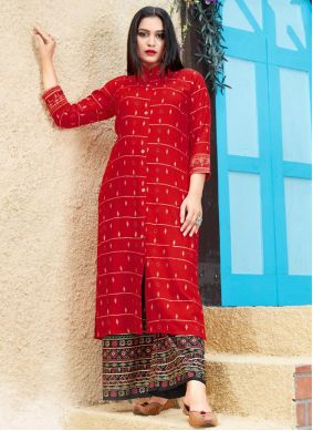 Red Rayon Party Wear Kurti
