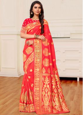 Red Reception Banarasi Silk Traditional Saree