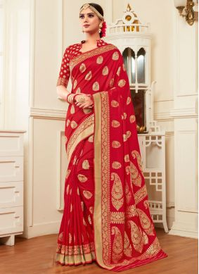 Red Reception Classic Designer Saree
