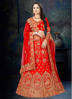 Red Reception Designer Lehenga Choli