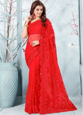 Red Resham Party Traditional Designer Saree