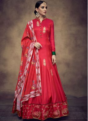 Red Resham Readymade Anarkali Suit