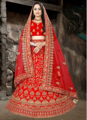 Red Resham Satin Lehenga Choli