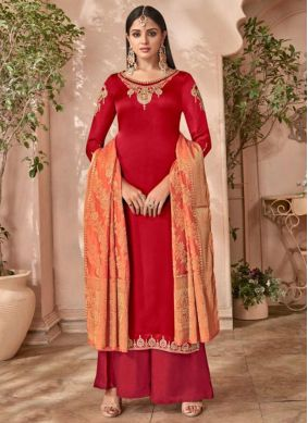 Red Satin Embroidered Designer Palazzo Suit