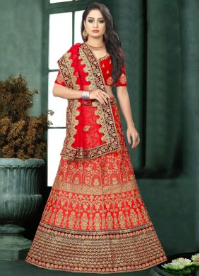 Red Satin Resham Lehenga Choli