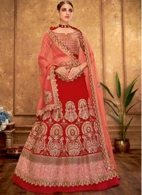 Red Sequins Silk Designer A Line Lehenga Choli