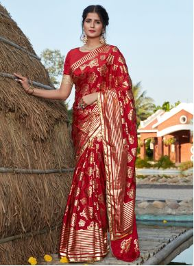 Red Silk Bollywood Saree