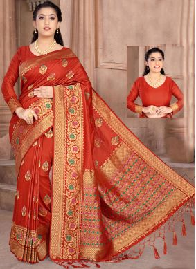 Red Silk Classic Designer Saree