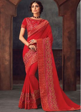 Red Silk Party Classic Saree