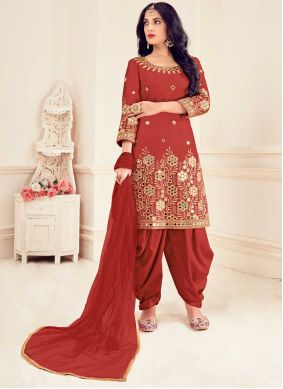 Red Silk Party Patiala Suit