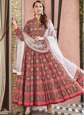 Red Silk Party Readymade Anarkali Salwar Suit