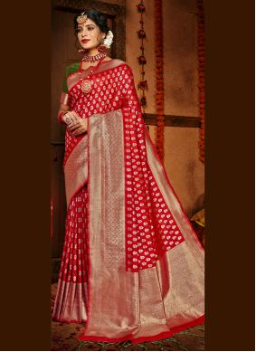 Red Silk Traditional Designer Saree