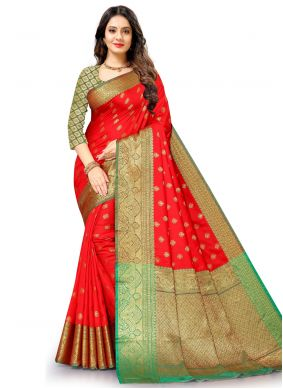 Red Silk Weaving Work Traditional Saree