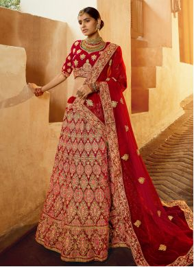 Red Velvet Ceremonial Lehenga Choli