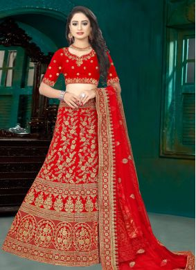 Red Velvet Embroidered Lehenga Choli