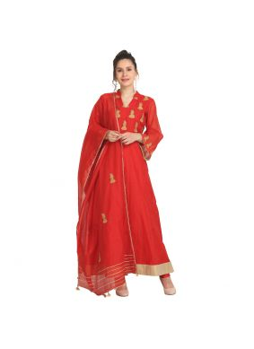 Red Viscose Sangeet Party Wear Kurti