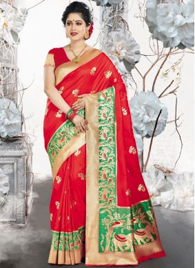 Red Weaving Bridal Designer Traditional Saree