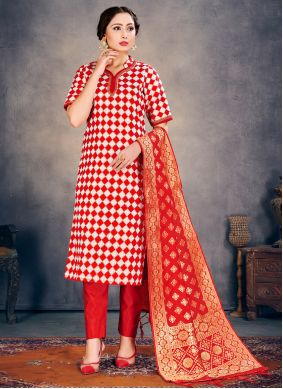 Red Weaving Ceremonial Pant Style Suit