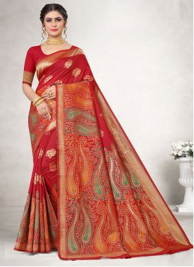 Red Weaving Classic Saree