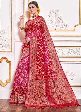 Red Weaving Designer Contemporary Saree