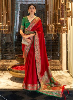Red Weaving Festival Traditional Saree