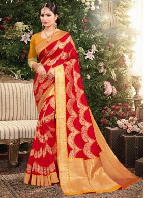 Red Weaving Jacquard Designer Saree