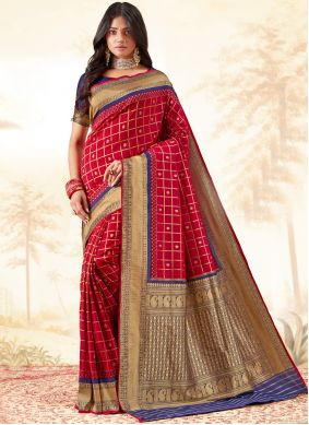 Red Weaving Party Traditional Saree
