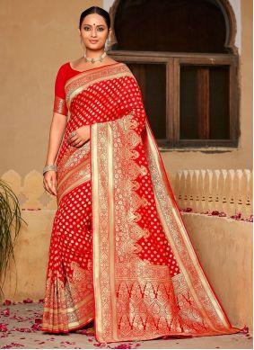 Red Wedding Banarasi Silk Classic Saree