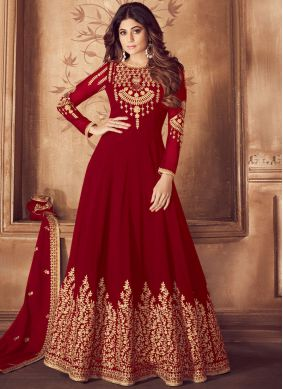 Red Wedding Georgette Anarkali Salwar Suit