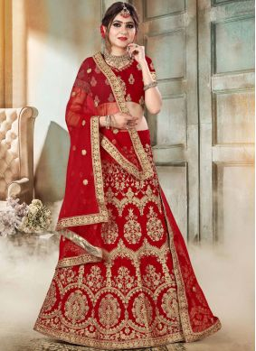 Red Wedding Velvet Lehenga Choli