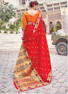 Red Woven Silk Traditional Saree