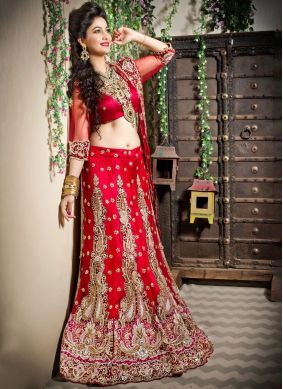 Red Zari Bridal Trendy Lehenga Choli