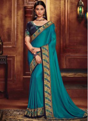 Regal Blue Embroidered Fancy Fabric Traditional Designer Saree