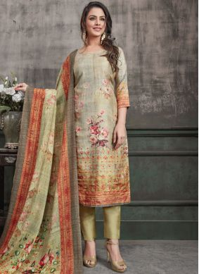 Regal Digital Print Multi Colour Art Silk Designer Straight Suit