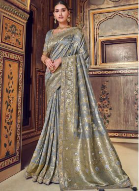 Regal Grey Designer Traditional Saree