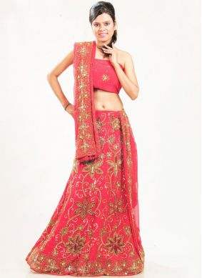 Regal Patch Border Rose Pink Faux Georgette Lehenga Choli