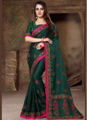 Remarkable Green Bridal Designer Traditional Saree
