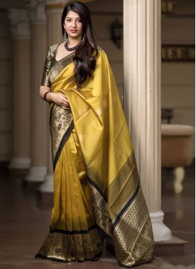 Renowned Mustard Art Silk Designer Traditional Saree