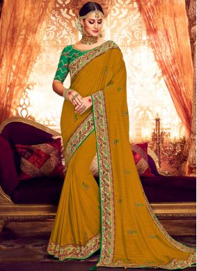 Resham Art Silk Designer Saree in Mustard