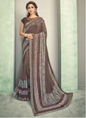 Resham Brown Traditional Saree