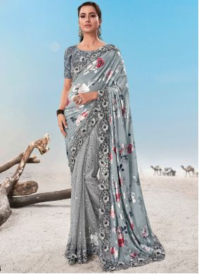 Resham Grey Fancy Fabric Classic Saree