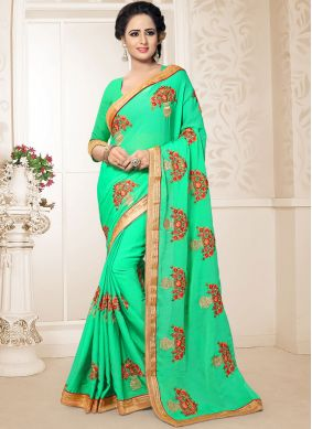 Resham Faux Chiffon Classic Saree in Green