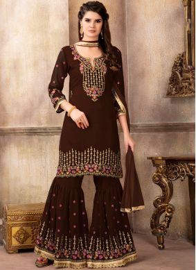 Resham Faux Georgette Designer Pakistani Suit in Brown