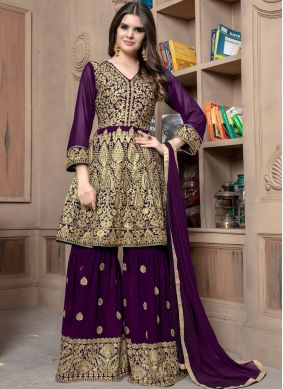 Resham Faux Georgette Designer Palazzo Suit in Purple