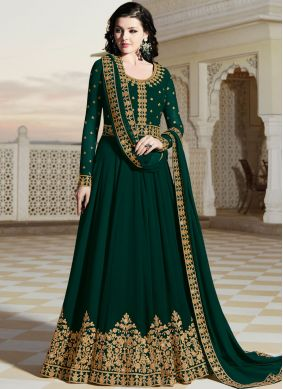 Resham Faux Georgette Floor Length Anarkali Suit in Green